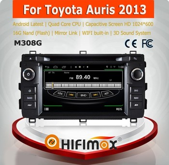 Hifimax car dvd player with gps navigation FOR Toyota Auris 2013 WITH Quad Core CPU 16G Hard disk HD1024*600 capacitive screen