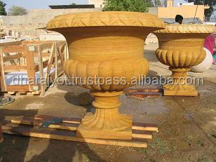 Yellow Teak Sandstone Unique Carving Design Flower Planter/Vase