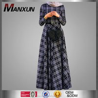 Beautiful Grid Dress Muslim Maxi Dress Elegant to Wear with Belt for Online Wholesale