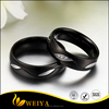 Black Tone Micro CZ Pave Wave Stones Stainless Steel Valentine Love Couples Wedding Promise Band Ring