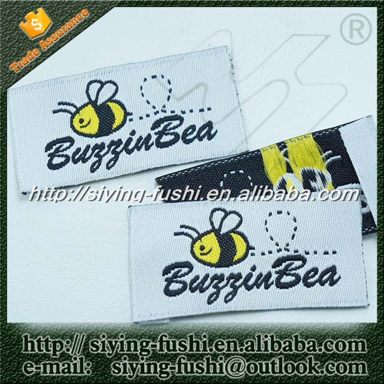 Custom hem woven label tags for apparel with private brands