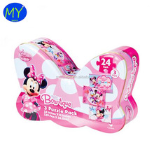 Low MOQ cartoon printing Minnie Mouse shaped irregular tin box for puzzles/cards with competitive price