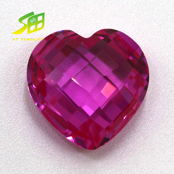 Romantic love heart 4*4mm synthetic pink cubic zircon