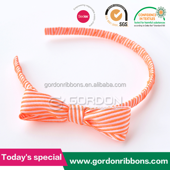 Orange and white stripe printing hair band/ Girl's Lovely Hair Accessory