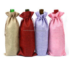 Factory wholesale Plain Hessian Jute Wine Champagne Beer Bottle Gift Bag