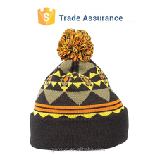 Acrylic Knitted Hat With Embroidery Including Jacquard Patterns