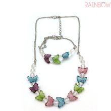 Fashoin butterfly beaded acrylic necklace for kids