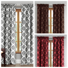 100% polyester faux silk flocking window curtain