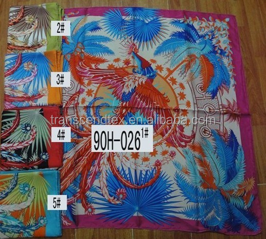 silk scarf 90x90cm, fashion brand scarf 100% silk