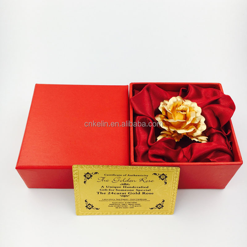 5cm Unique Wedding Decorative Flower 24K golden Rose Brooches with gift box and certificates
