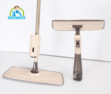 Boomjoy Two-in-one spray mop & window cleaner set with a multifunctional spray bottle and two cleaning head.