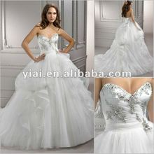 JJ0039 Beaded Floor Length Sweetheart Organza Wedding Dress 2012
