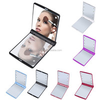 Makeup Mirrors Mini Portable Folding Compact Hand Cosmetic Make Up Pocket Mirror with 8 LED Light for Lady