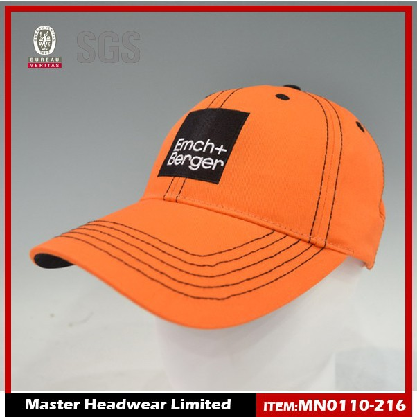 custom 100% cotton 6-panel embroidery orange baseball cap with/without logo manufacture