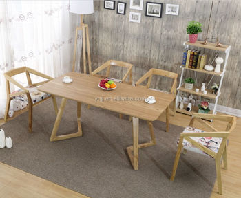 Wood dining coffee cafe table set