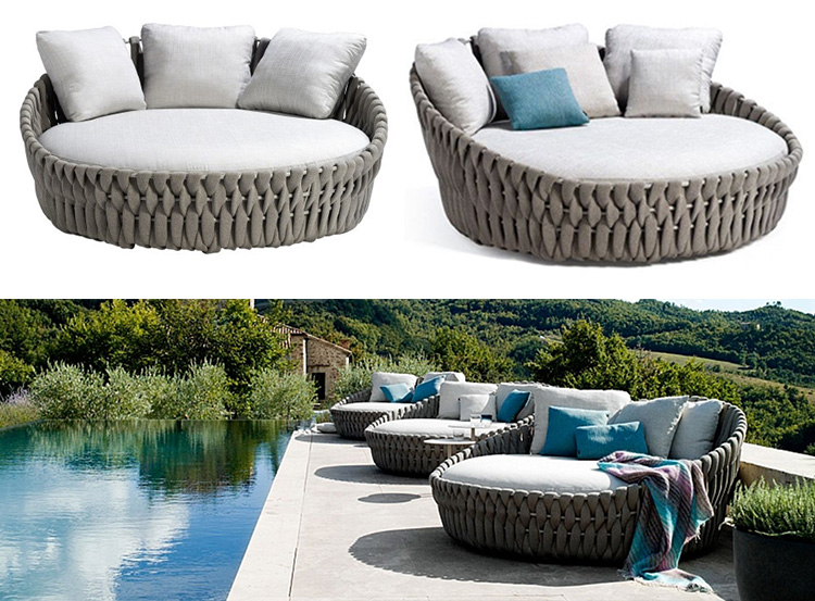 European chinese woven rope aluminum round  king size hilton hotel outdoor pool patio day bed