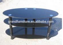 Oval Shape Glass TV Stand forliving room