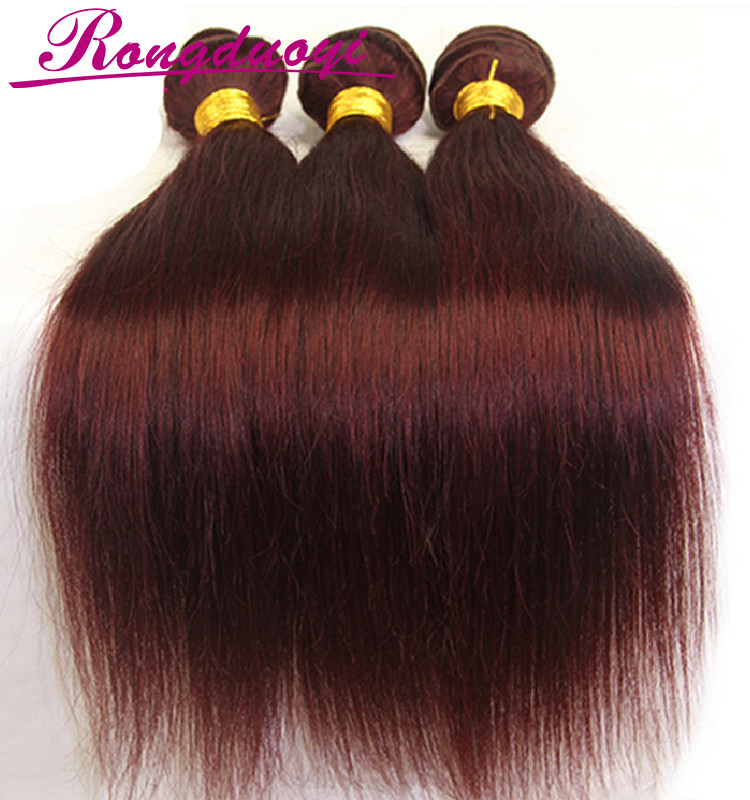 Best selling Indian women long hair sex extensions Red color human hair weaves