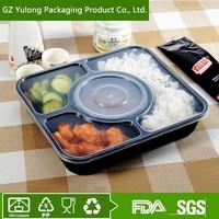 Disposable black rigid PP plastic food bento container box