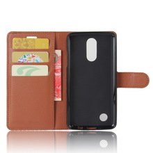 wholesale Litchi pattern PU leather kickstand wallet phone case with 3 slots for LG K8 2017
