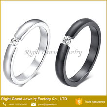 Stainless Steel Cubic Zirconia Open Couple Ladies Concave Ring Titanium CZ Latest Wedding Ring Designs