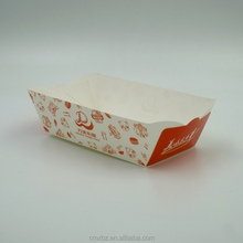Fried fast food use disposable custom printed paper food tray