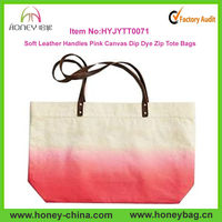 Personalized Soft Leather Handles Pink Canvas Dip Dye Zip Tote Bags