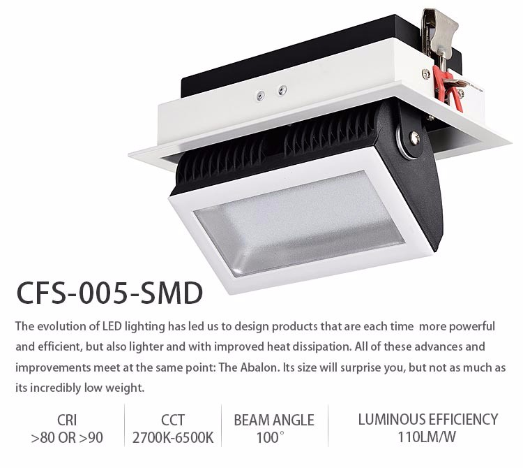40w up down rectangular adjustable recessed cob trimless led downlight