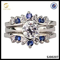 2015 newest design 925 silver sapphire 3-pcs wedding ring band;men diamonds ring