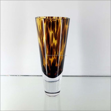 Hand-Blown Art Glass Stemware Wine Goblet Spotted Amber Tortoise Shell Color