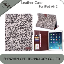 Wallet Case Card Holder For Apple iPad Air 2 Stand Case Leopard Pattern Leather Case For iPad air 2 Back Cover