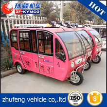 Long range mini electric covered tricycle with cabin