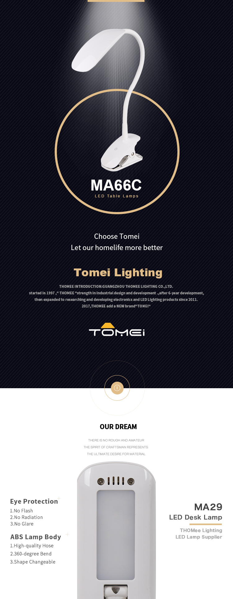 TOMEI Dimmable And Flexible LED Clip Lamp Swing Arm Lamp For Table Desk Lighting