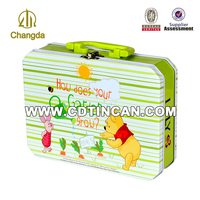 Custom Blank plain Portable Metal Lunch Box with lock and handle lunch tin box