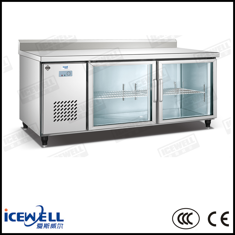 Stainless steel salad bar counter refrigerator fridge