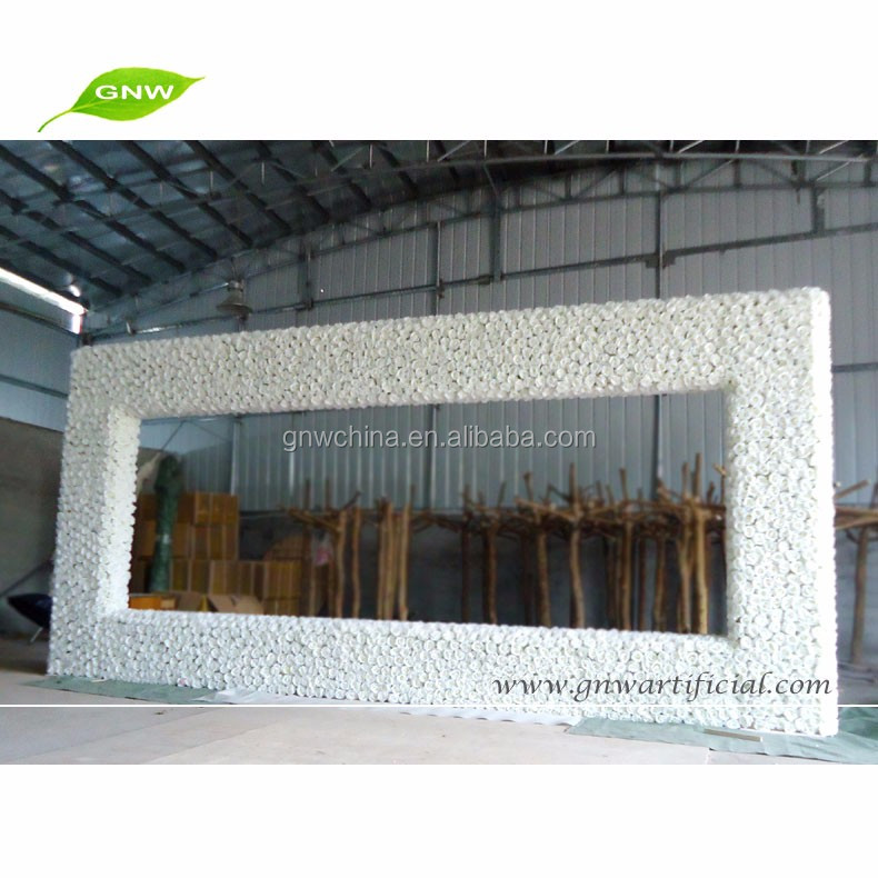 GNW FLWA1707004 Artificial Flower Made Rectangle Frame Wedding Backdrop Decoration