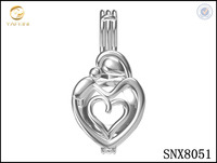 Mother and child Sterling Silver Pearl Cage Pendant Locket Jewelry