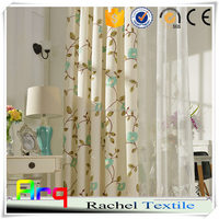 Curtain livingroom window place Spring flower design polyester cotton embroidery fabric for