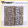 Newest Luxury Leopard Leather Case For Samsung Note 4, case for samsung galaxy note 4 mobile phone