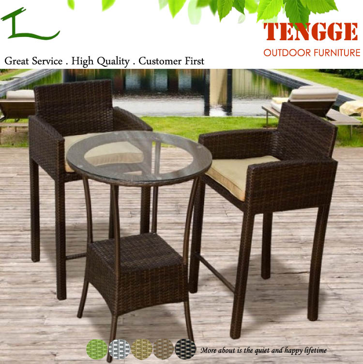 Patio haute top en osier rotin bar table et chaise avec for Table et chaise en osier
