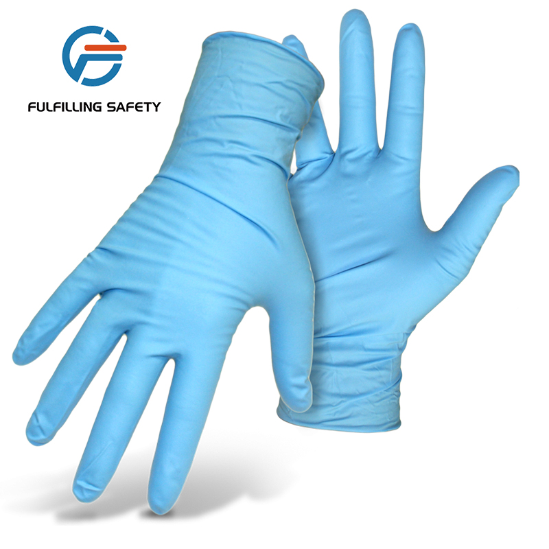 Disposable cheap bulk Medical Grade Colored Powder Free Examination blue nitrile exam <strong>Gloves</strong>