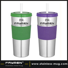 Stainless steel coffee cup with silicon sleeve