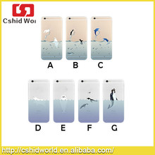 Cute Sea Animal Dolphin Soft Transparent Case for iphone 6 tpu case