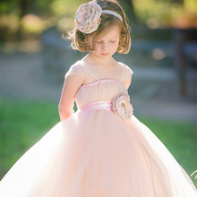 Flower girl dress with flowers wedding birthday Bridesmaids girl tutu Dresses Sewn Tulle Dress