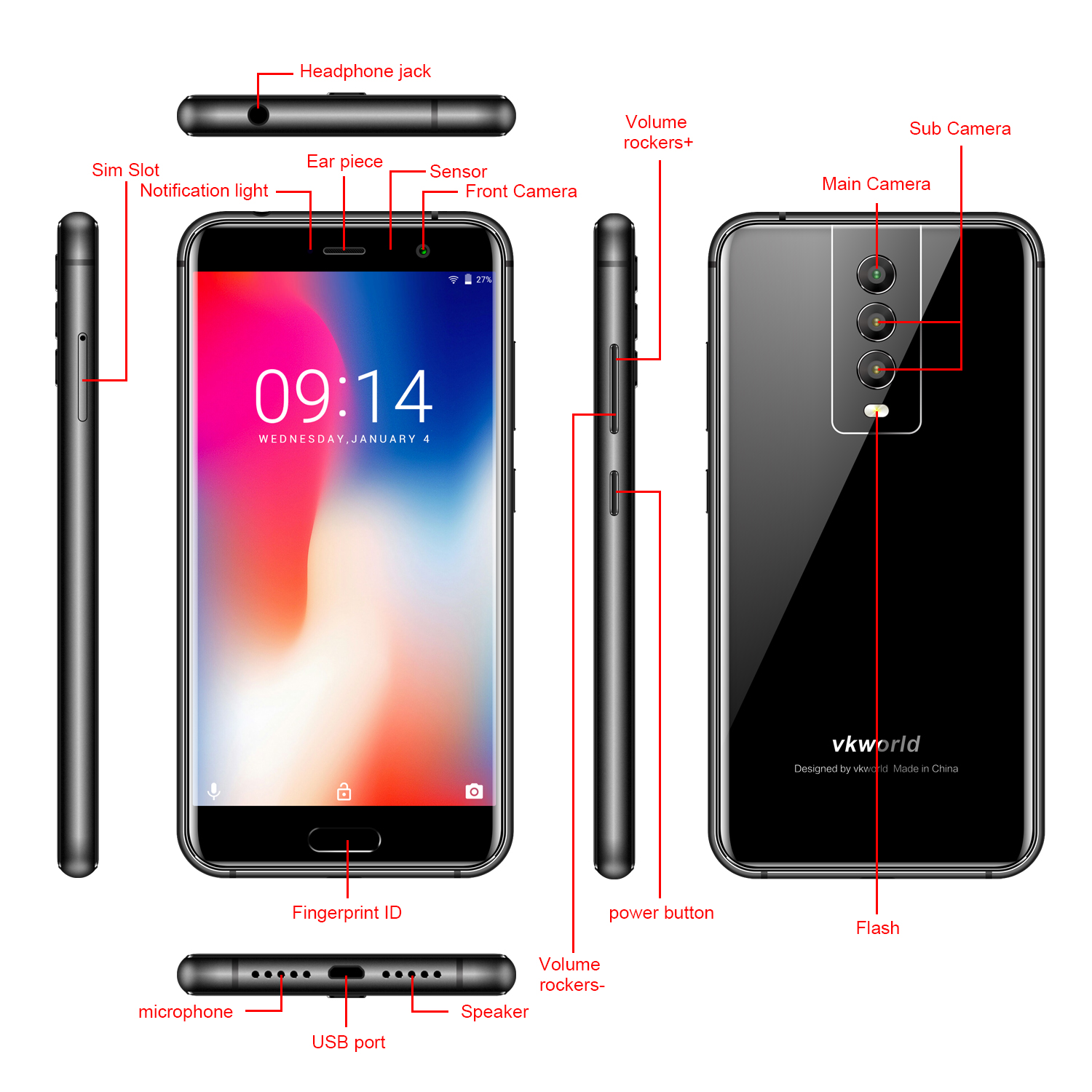 "Original Factory Price VKworld K1 5.2""Three Camera 4040mAh 4g China Smartphone 4+64GB custom android mobile Unock cell phone"