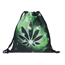 marijuana weed galaxy polyester fashion military backpack