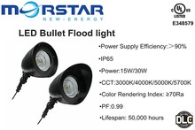 LED bullet flood 15w 30w with LED Light Source and Warm White Color Temperature(CCT)