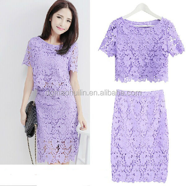 Wholesale ladies latest elegent ladies summer lace blouse and skirt