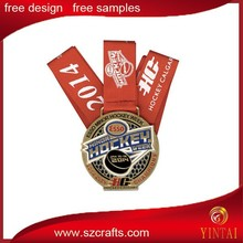 Custom Professional 3d commemorative metal medal/ Round metal medal with ribbon for basketball game/match/competition