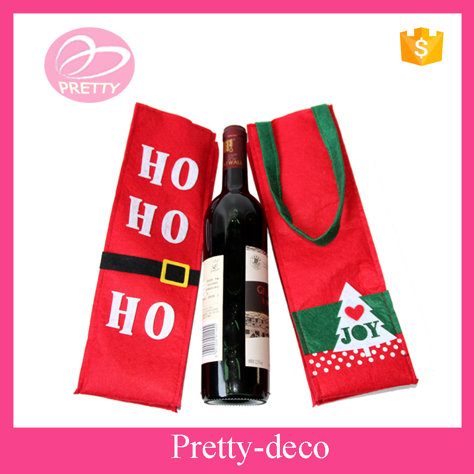 Promotion Christmas themed wine bag in felt